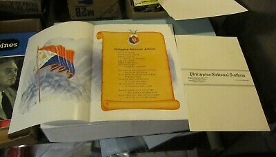 WWII Philippine Islands National Anthem Poster and Sheet Music Tagalog English