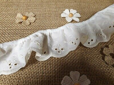 Cream Gathered Broderie Anglaise Lace Trim Width 50mm = 2 inch Various Lengths