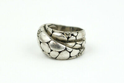 Earthy Sterling Silver 'Flower and Stone' Garden Ring; 10.0 Grams