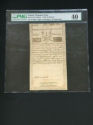 Poland 1794 - 25 Zlotych  -Treasury Note - Pmg Extremely Fine 40 - Rare Note