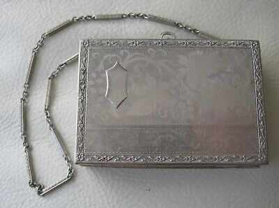 Antique Art Deco Engraved Leaf Floral Silver T Chain Coin Holder Purse Compact