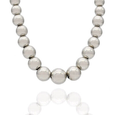 Polished Solid 925 Sterling Silver Graduated Ball Bead Statement Necklace