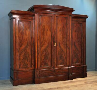Attractive Very Large Antique Victorian Mahogany Break Front Four Door Wardrobe