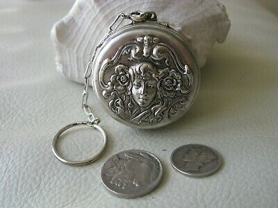 Antique Art Nouveau Woman Silver P Chatelaine Finger Ring Puff Dance Compact #4