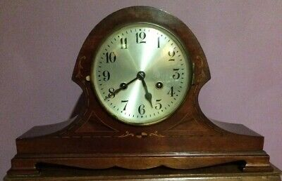 Antique Marquetry German DRGM Pendulum Chiming Mantel Clock Silvered Face Key