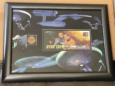 USPS Ltd Ed Star Trek Stamp Autographed by William Shatner/Leonard Nimoy w/COA