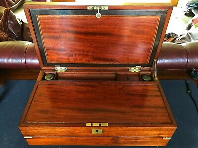 c.1790 Early George III TRIPLE Flame Mahogany, Satinwood & Ebony Writing Slope