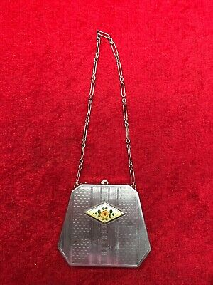 Vintage Art Deco Ladies Vanity Mirror Compact Powder Purse W/ Chain Nice!