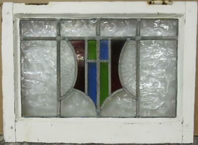 "OLD ENGLISH LEADED STAINED GLASS WINDOW Stunning Shield Design 22.5"" x 16.5"""