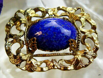 Beautiful Vtg Lapis Cobalt Blue Peking Glass Openwork Gilded Brass Pin Brooch!!