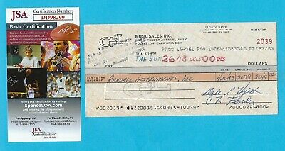 Leo Fender G&L 1983 Autographed Check Made To Randall Instruments, Inc. JSA COA