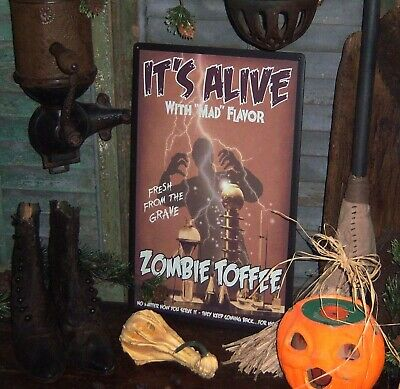 Prim Antique Style Halloween Zombie Toffee Mad Monster Tin Sign SPECIAL PRICE