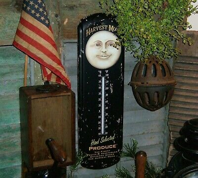 Primitive Antique Vtg Style Halloween Man on the Moon Thermometer Sign Tin