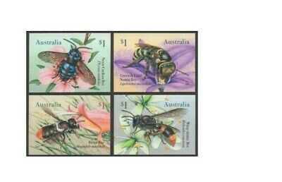 2019 Native Bees, 4 P& S FRANKED Australian Stamps, On Paper