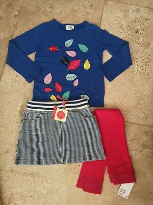 Bnwt Boden 3d Leave Top Skirt & Footless Tights Set Age 4-5