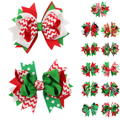 Xmas Kids Baby Girls Children Toddler Flowers Hair Clip Bow Accessories Hairpin