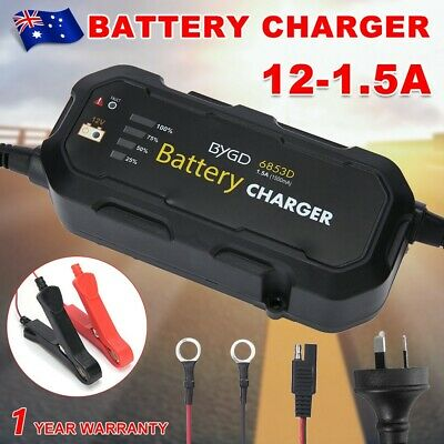 1.5A 12V Smart Battery Charger Maintainer Automatic SLA AGM Car Boat Motorcycle
