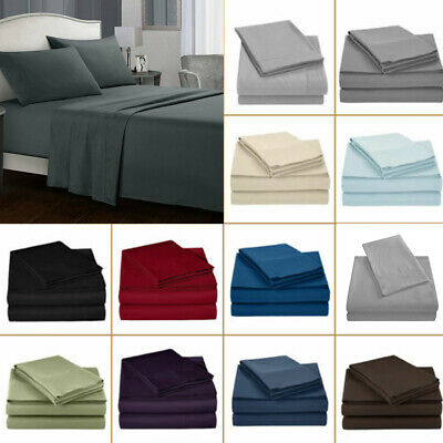 Ultra Soft 3/4Pcs FLAT & FITTED Bed Sheet Set Single/Queen/King Size Pillowcases