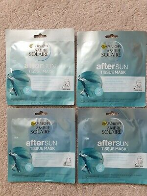 4 X Garnier Ambre Solaire Aftersun Tissue Mask Brand New & Sealed