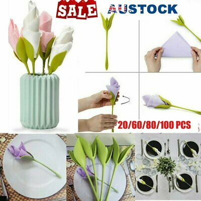 4~100x Bloom Napkin Holders - Flowers Floral Green Design for Table Decoration R
