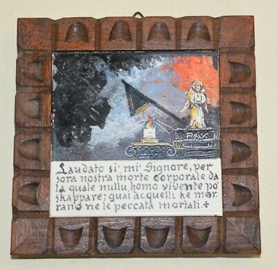 Antique Italian Hand Painted Ceramic Framed Tile Religious Catholic Mortality