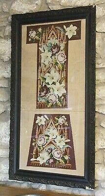 Antique Vic. framed tapestry PRIE DIEU chair replacement cover upholstery refurb