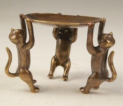 Rare China Brass Hand-Carved Cat Statue Candlestick Old Collection Decora