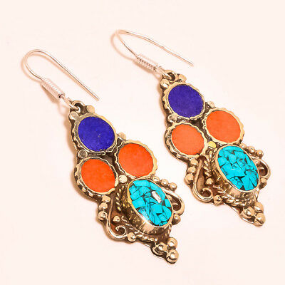 Turquoise & Red Coral With Lapis Lazuli Lovely Nepali Tibetan Earring S-2.40''