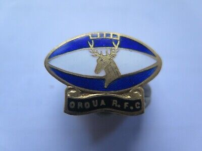 OROUA NZ RUGBY FOOTBALL CLUB ENAMEL MEMBERS BADGE c1970s EXCELLENT CONDITION
