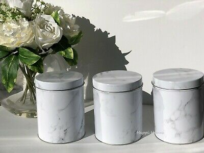 Marble Effect Metal Container Set 3 Tea Coffee Sugar Tin Canisters Storage