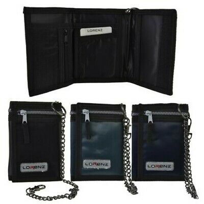 Mens Boys TriFold Sports Wallet by Lorenz with Security Chain Handy