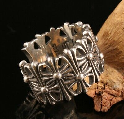 Unique China Solid Silver Hand-Cast Cross Ring Spiritual Gift Colle