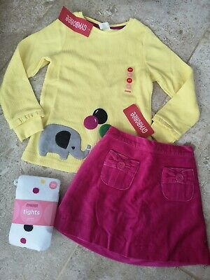 Bnwt Gymboree Elephant Top Velvet Skirt & Tights Set Age 4-5