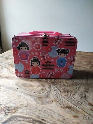 Lovely cute Kawaii geisha pink tin with handle lunchbox style