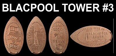 UK Elongated Coin Pressed Penny Blackpool Tower 3 full set retired rare