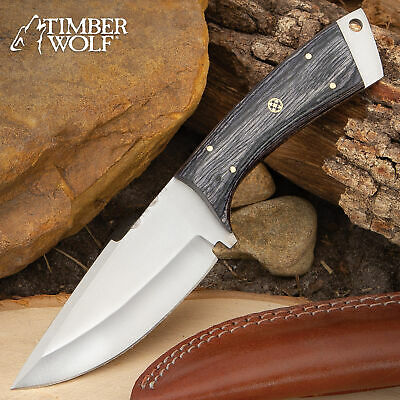 """9"""" Timber Wolf Wood Hunting Survival Fixed Blade Full Tang Knife Bowie w/ Sheath"""