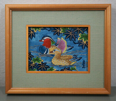 Vintage Hand Painted Ceramic Tile Framed Duck Asian Small Colorful