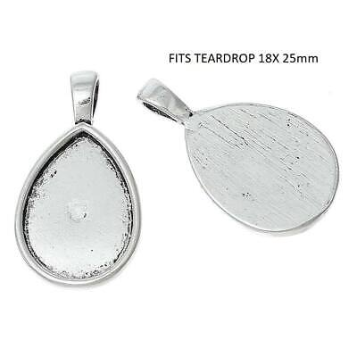 size fits 25mm glass 2 x Silver toned cabochon brooch pendant setting N13