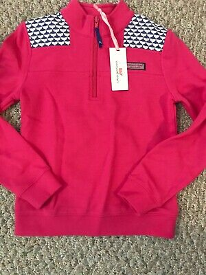 Vineyard Vines girls  Pink NavyStriped Shoulder 3/4 Zip pull over, NWT 7 8
