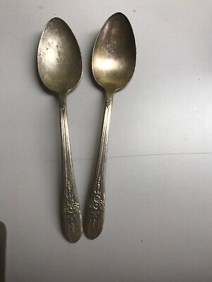 Vintage Set Of 2 Wm Rogers Extra Silver Plated Dinner Spoons (F10)