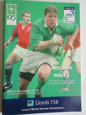 rugby programmes - Ireland v Wales 1-4-2000