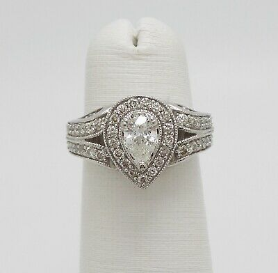1CT Pear Diamond Halo Solitaire Engagement Wedding Bridal Ring 14K White Gold