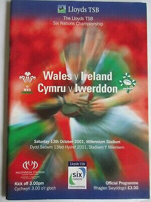 rugby programmes - wales v Ireland 13-10-01