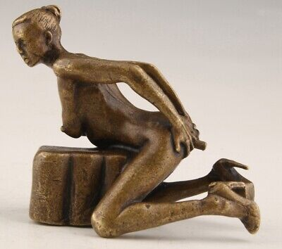 Retro Bronze Statue Beautiful Nude Old Solid Mascot Collection Chinese Gift