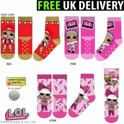 Girls 1 Pair Lol Surprise Winter Gripper Slippers Socks With Abs   6-8 9-12 13-3