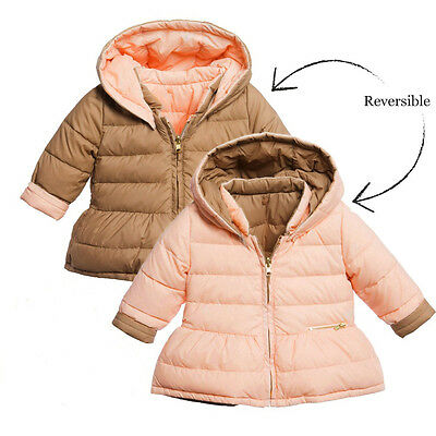 Chloe Baby Girls Beige Reversible Down Padded Coat 2 Years