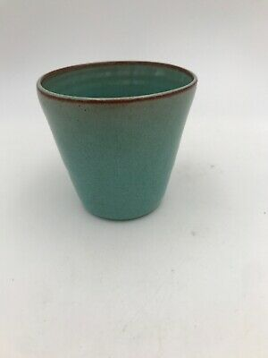 Vintage Nell Cole Graves North Carolina Pottery Turquoise Glaze Small Cup