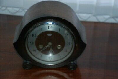 Vintage Smiths Enfield Wooden Cased Mantle Clock SPARES OR REPAIRS
