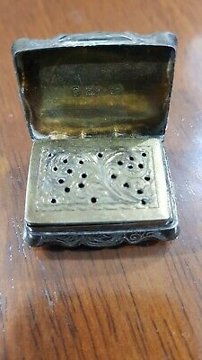 Antique Victorian Hand Engraved Solid Silver Snuff Box