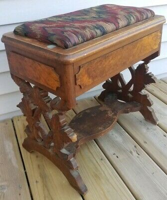 Antique Vintage Carved Wood Bench Sewing Box Stool Chest Upholstered Top